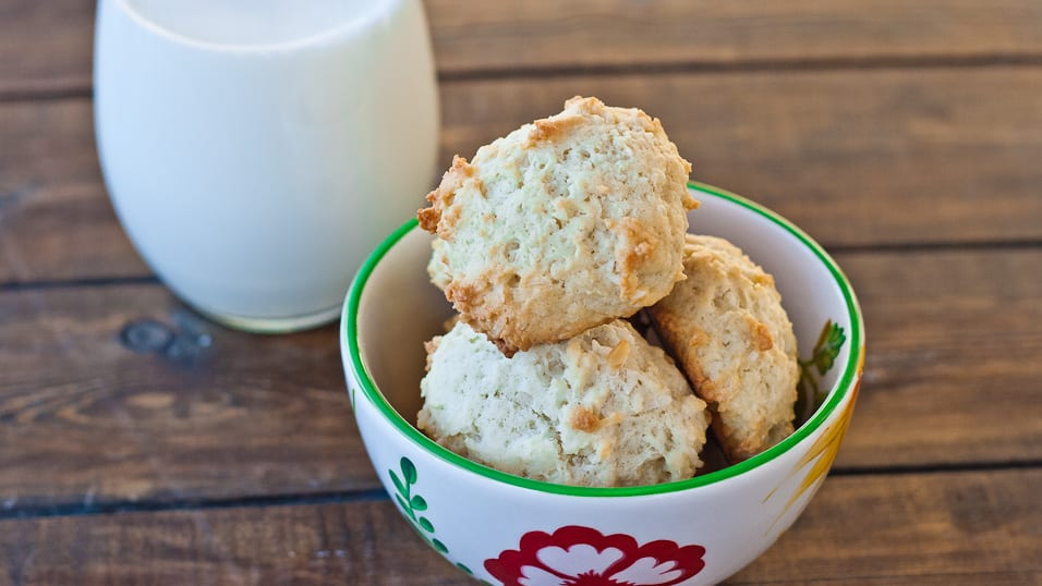 Coconut Macadamia Cookies with a glass of milk