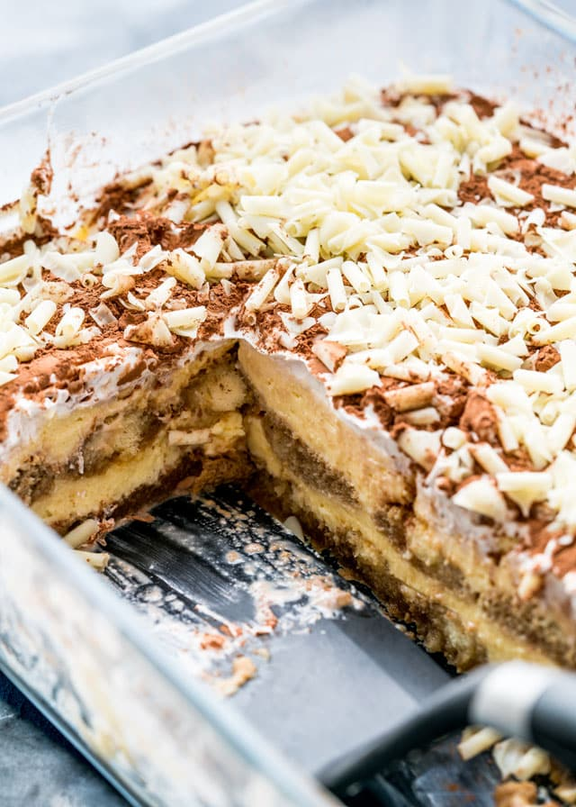 This Tiramisu is the easiest Tiramisu you'll ever make, no bake, delicious and an absolute crowd pleaser! You'll never guess where I got the recipe from!