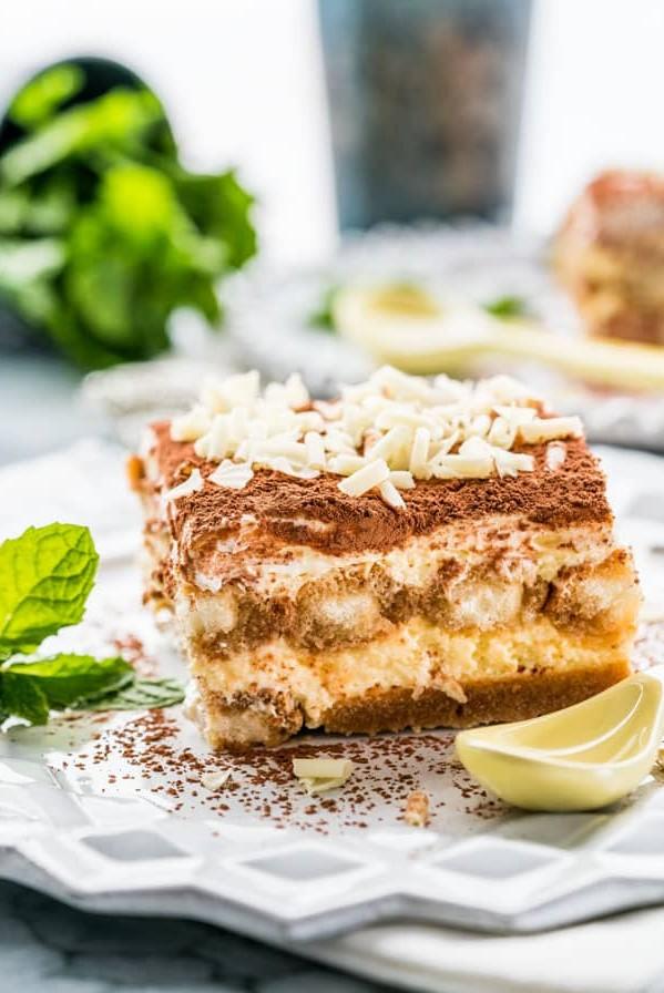 a slice of easy tiramisu on a plate