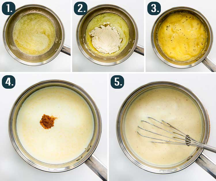 detailed process shots showing how to make bechamel sauce