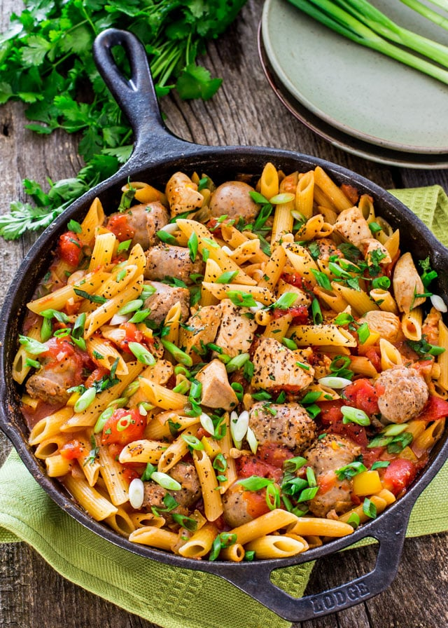 Chicken and Sausage Penne Jambalaya in a skillet