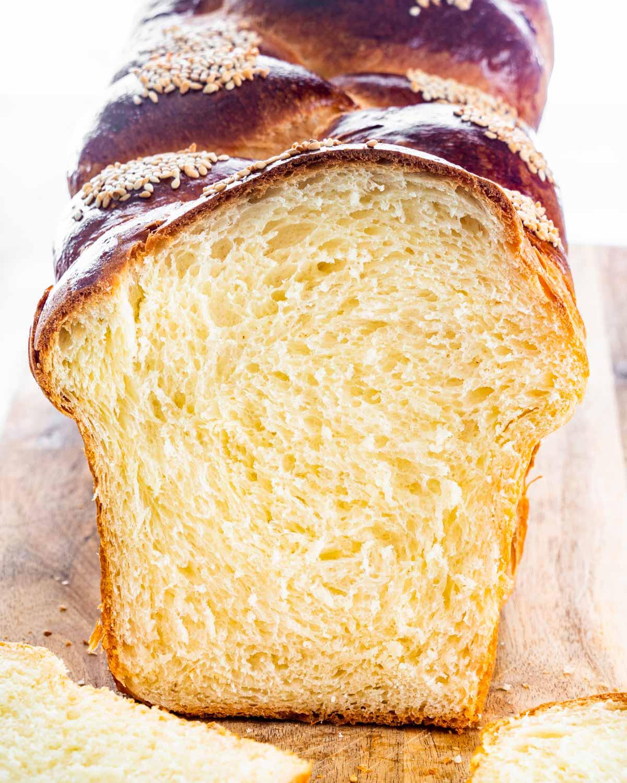 fluffy easter bread on a cutting board