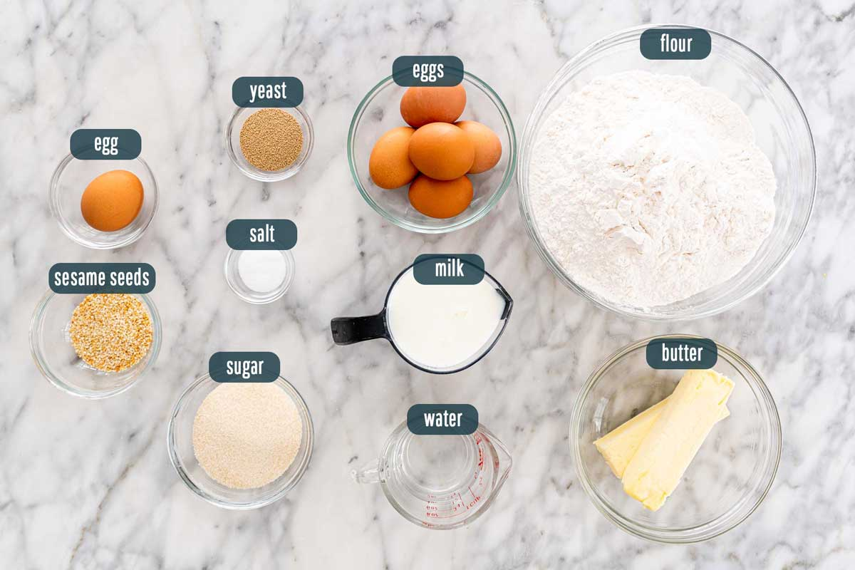 overhead shot of ingredients needed to make easter bread