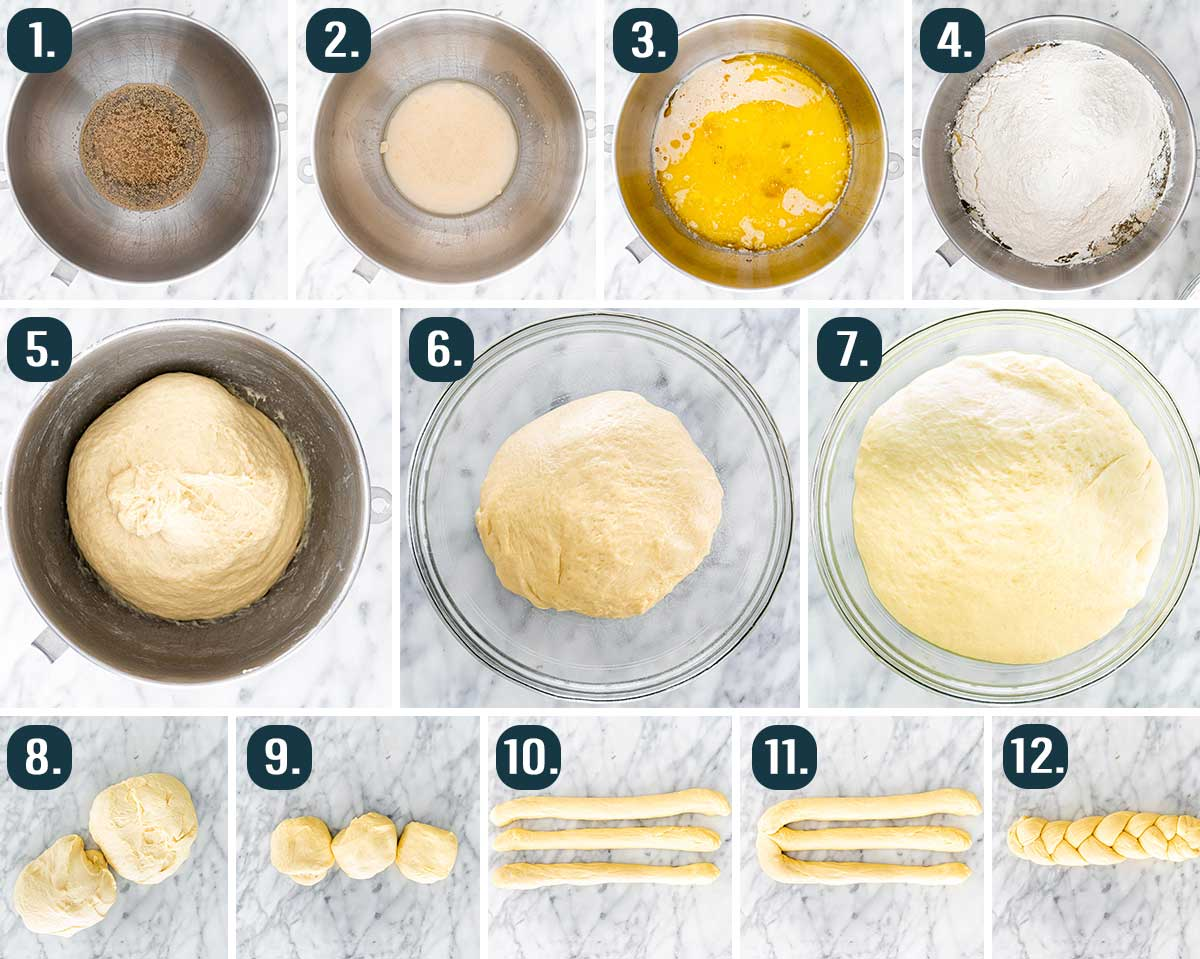 process shots showing how to make easter bread dough