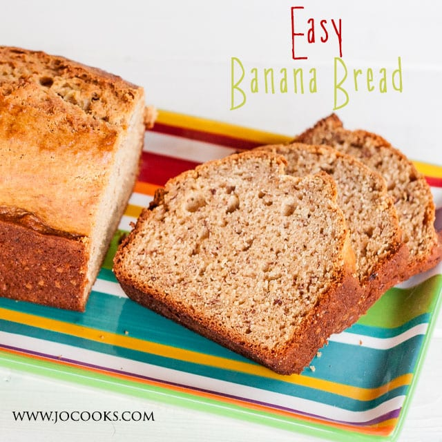 Easy banana bread - a no fail recipe, simple and delicious. Nut free, so it's perfect for those with nuts allergies. Easy, fabulous, and yummy!