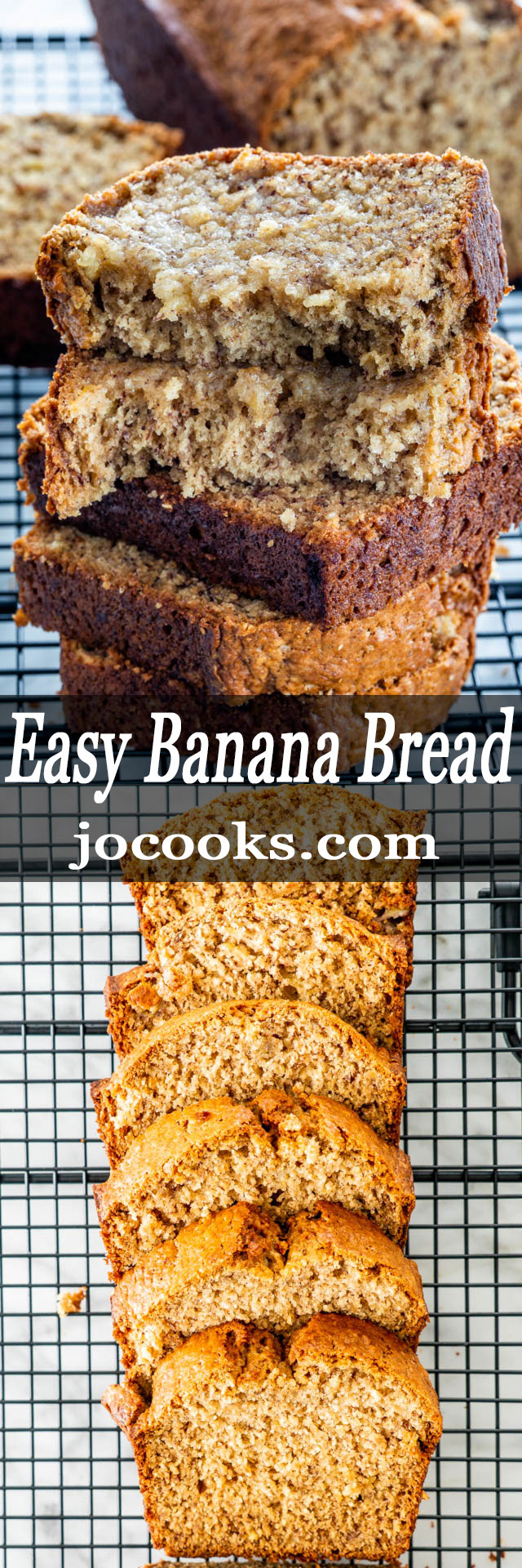 This Easy Banana Bread recipe has been my go-to for decades. It truly is a no fail recipe; simple and delicious. No mixer needed for this fabulous, moist bread! #bananabread