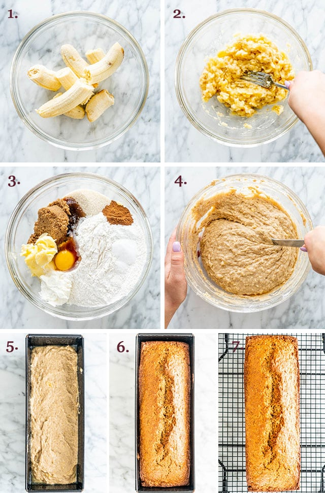 process shots showing how to make banana bread