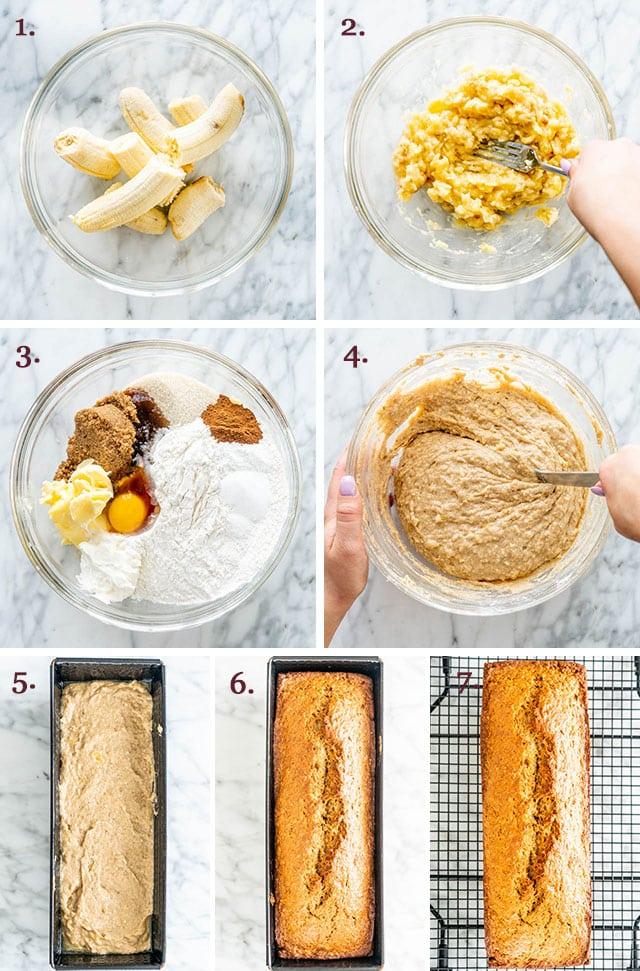 process shots showing how to make banana bread