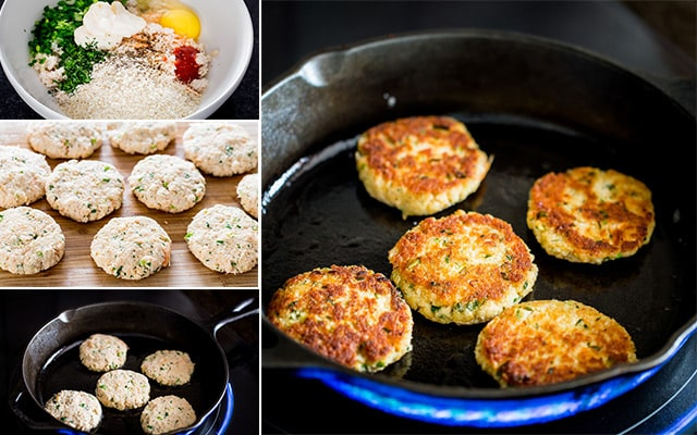process shots of making crab cakes