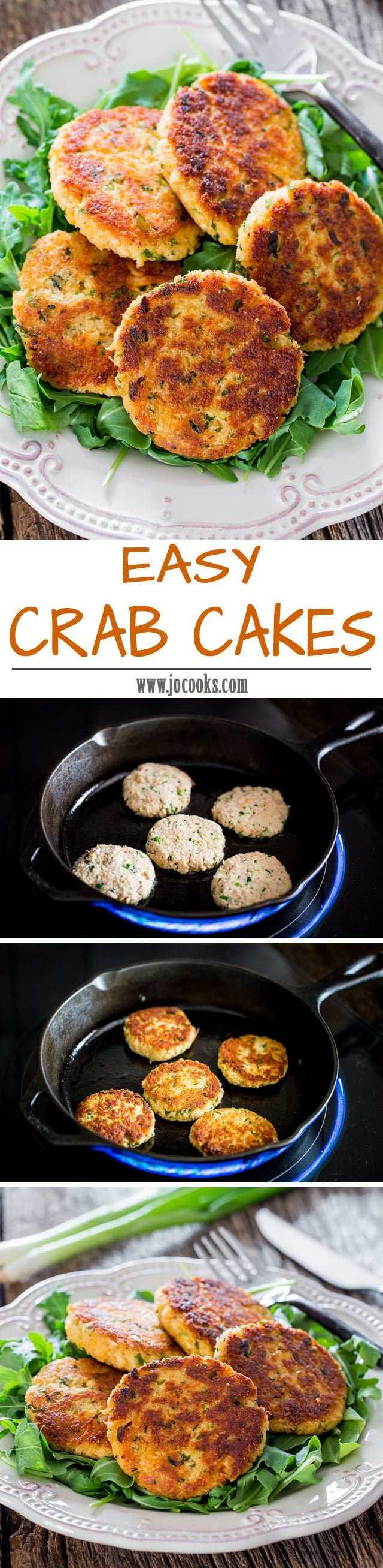 Easy Crab Cakes - these succulent pan-fried crab cakes are fast, easy and delicious and won't crumble. #crabcakes