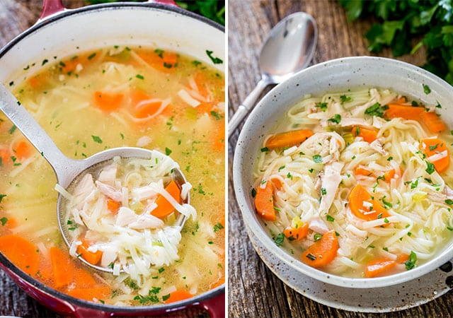 homemade chicken noodle soup in a pot and in a bowl