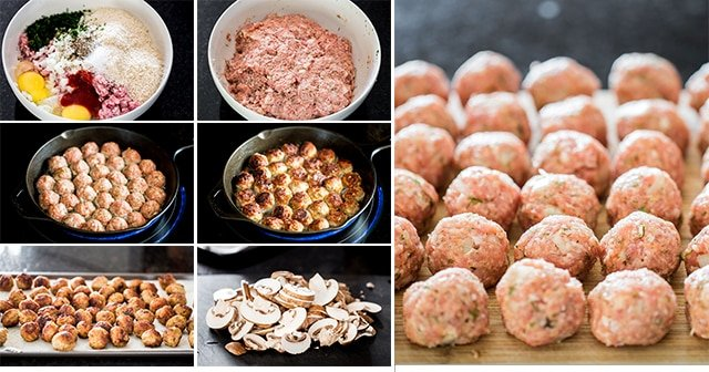 process shots showing how to make meatballs