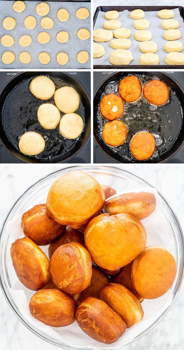 process shots for making paczki