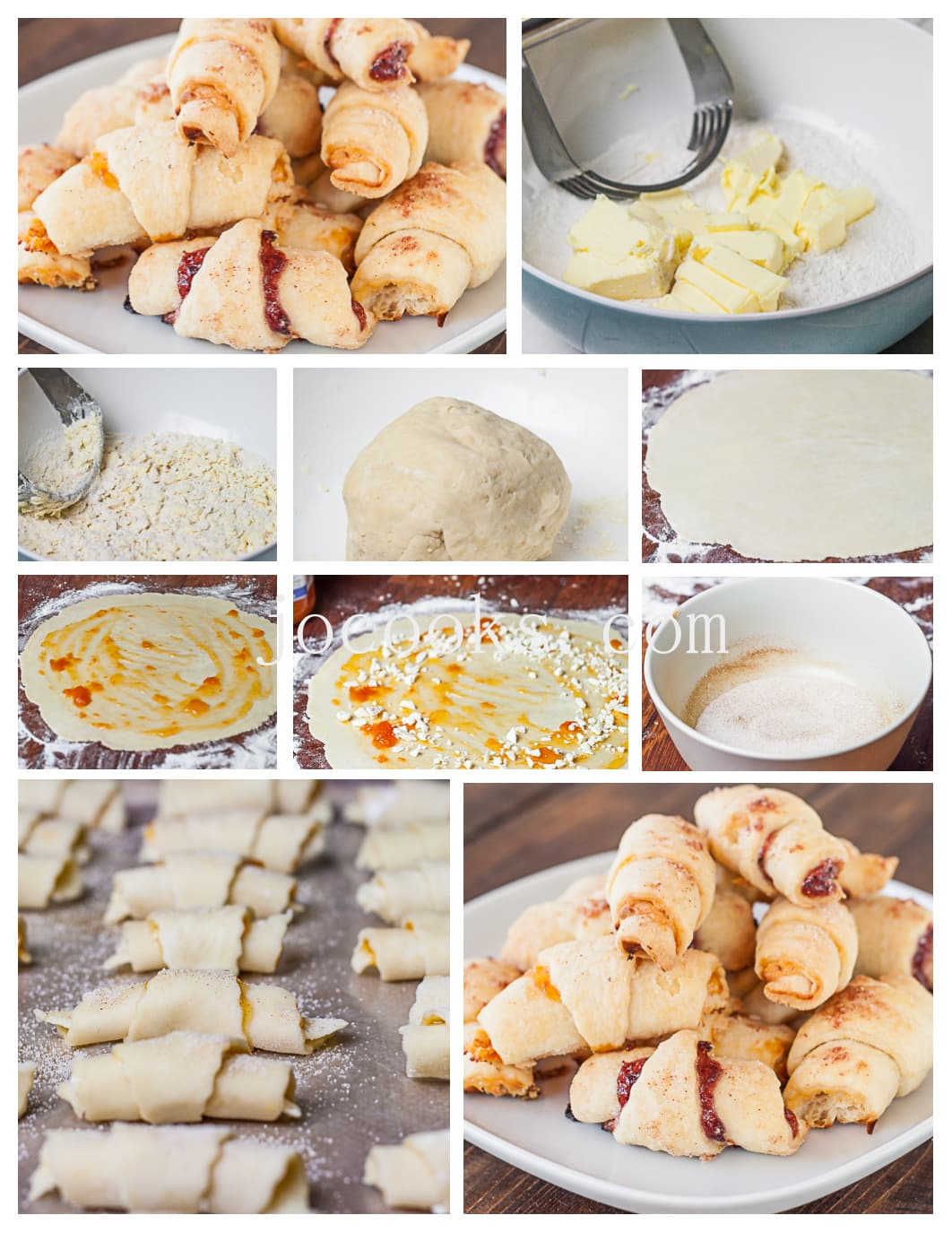 Step by step shots of the process for making white chocolate apricot rugelach cookies