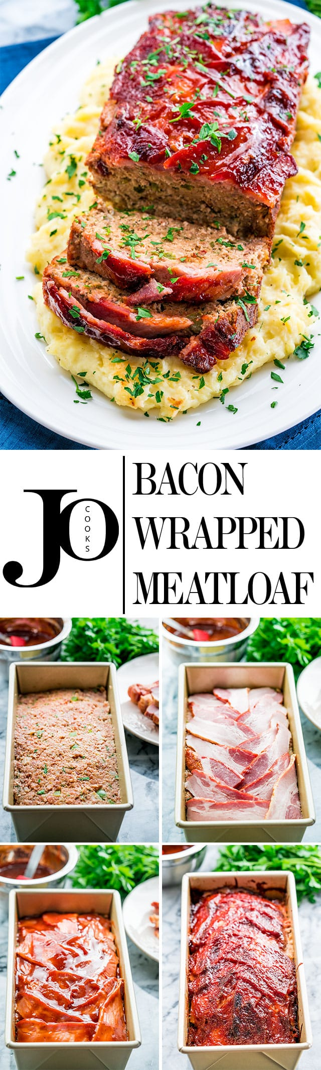 This Bacon Wrapped Meatloaf will become a family favorite for sure! Meatloaf is back and better than ever, full of flavor, some hidden veggies, and wrapped with delicious thick cut bacon! www.jocooks.com #baconwrapped