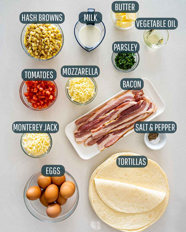 overhead shot of ingredients needed to make breakfast burritos.
