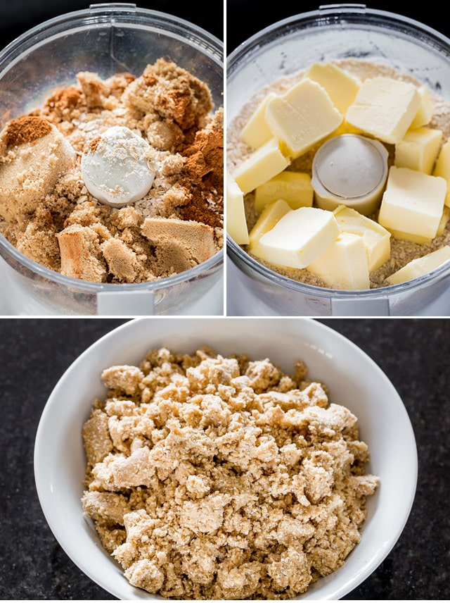 mixing ingredients in a food processor to make Date Squares