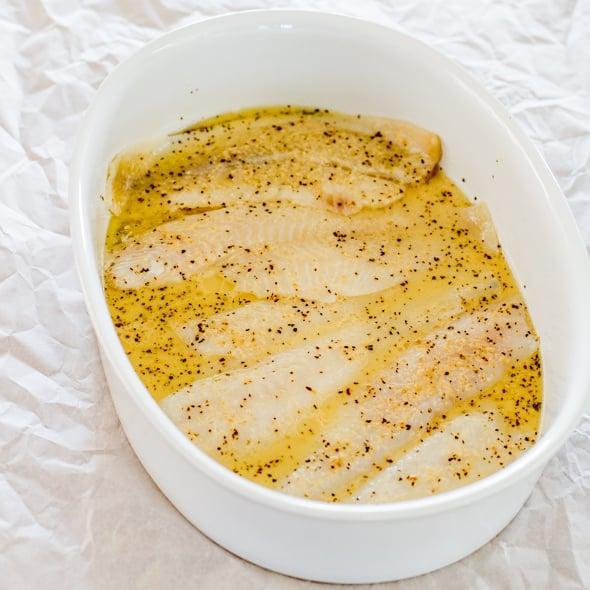 process shot making Fresh Sole Fish with Pea Salad