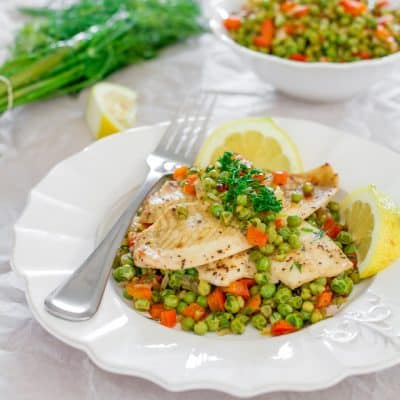 Fresh Sole Fish with Pea Salad