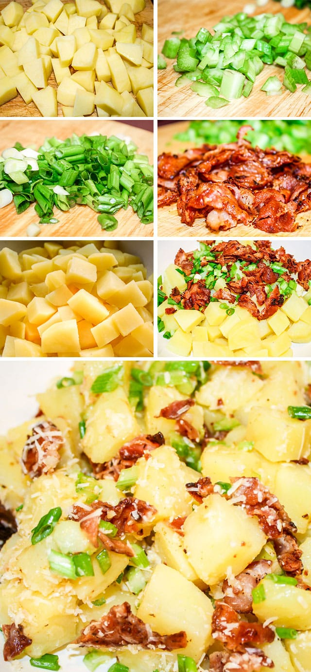 process shots of making Italian Potato Salad