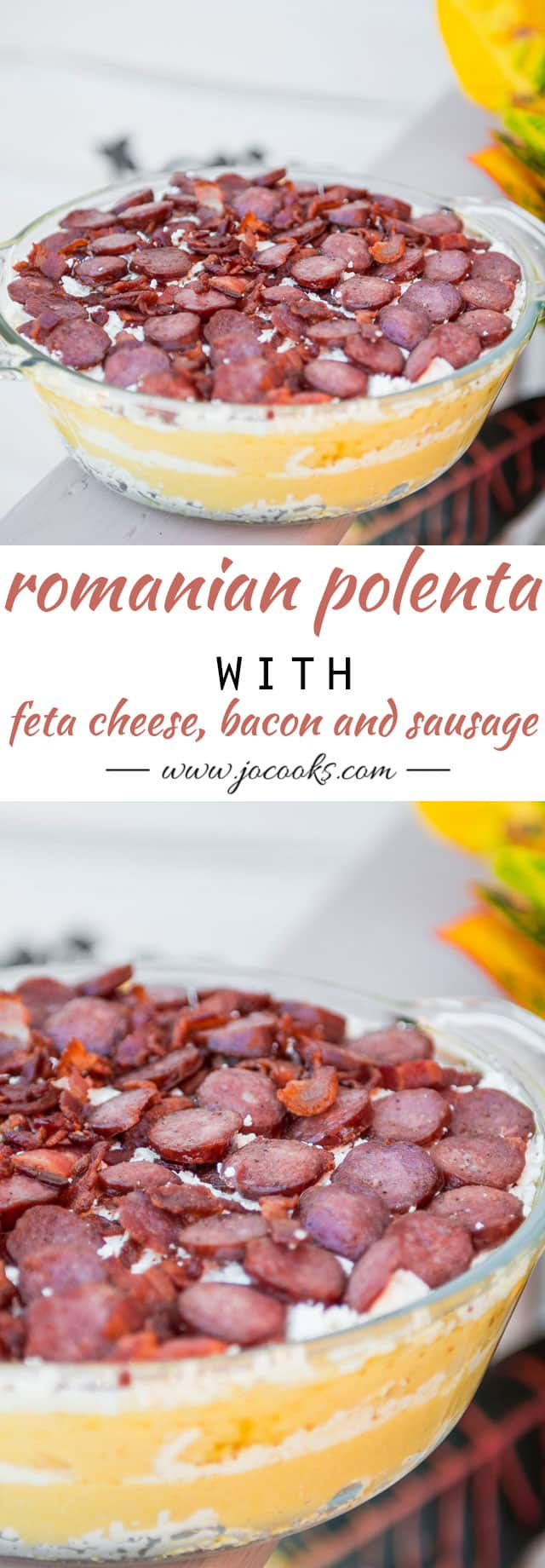 "This Traditional Romanian Polenta with Feta Cheese, Bacon and Sausage known as ""Mamaliga cu Branza in Paturi"" is a dish I've grown up with and am very fond of. It's hearty, delicious and satisfying."