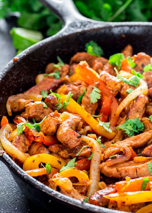closeup of Pork Fajitas in a skillet