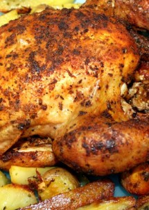 roast chicken and roast potatoes9