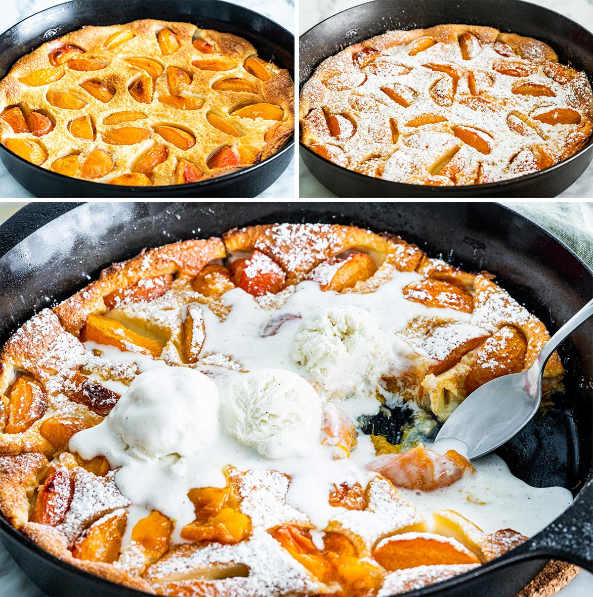 a collage of photos of apricot clafoutis in a black skillet