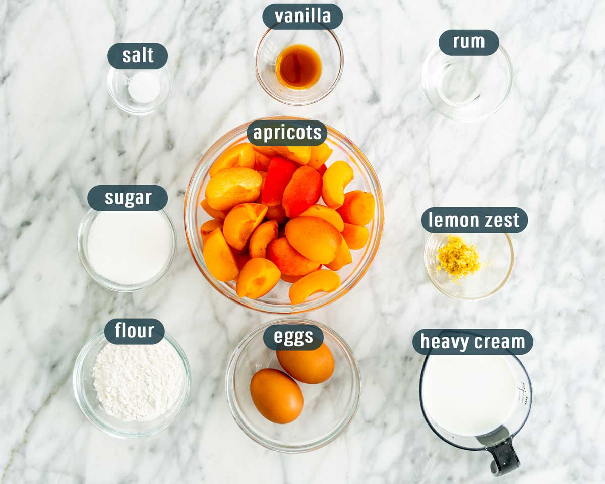 overhead shot of all ingredients needed to make apricot clafoutis