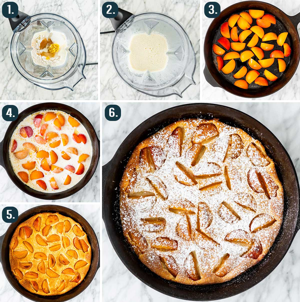 detailed process shots showing how to make apricot clafoutis