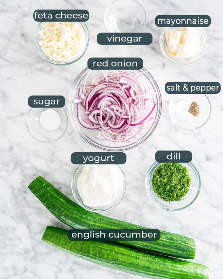 overhead shot of ingredients needed to make Creamy Cucumber Salad