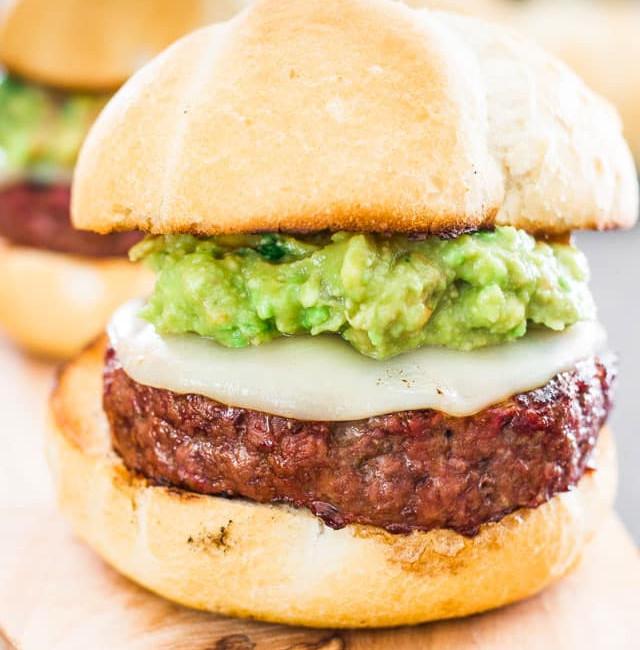 close up shot of a guacamole burger aka the beast