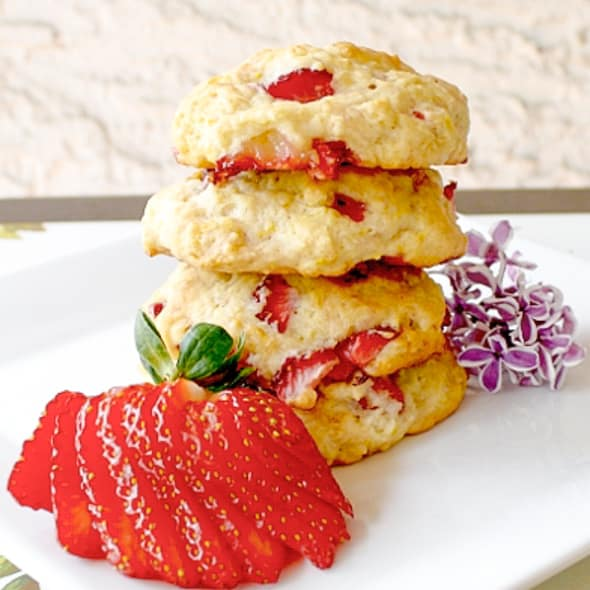 a stack of strawberry banana shortbread cookies