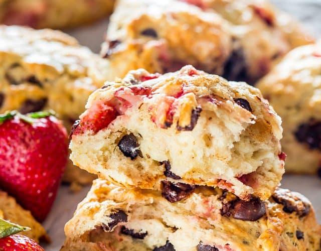 Strawberry And Chocolate Chip Scones Recipe — Dishmaps