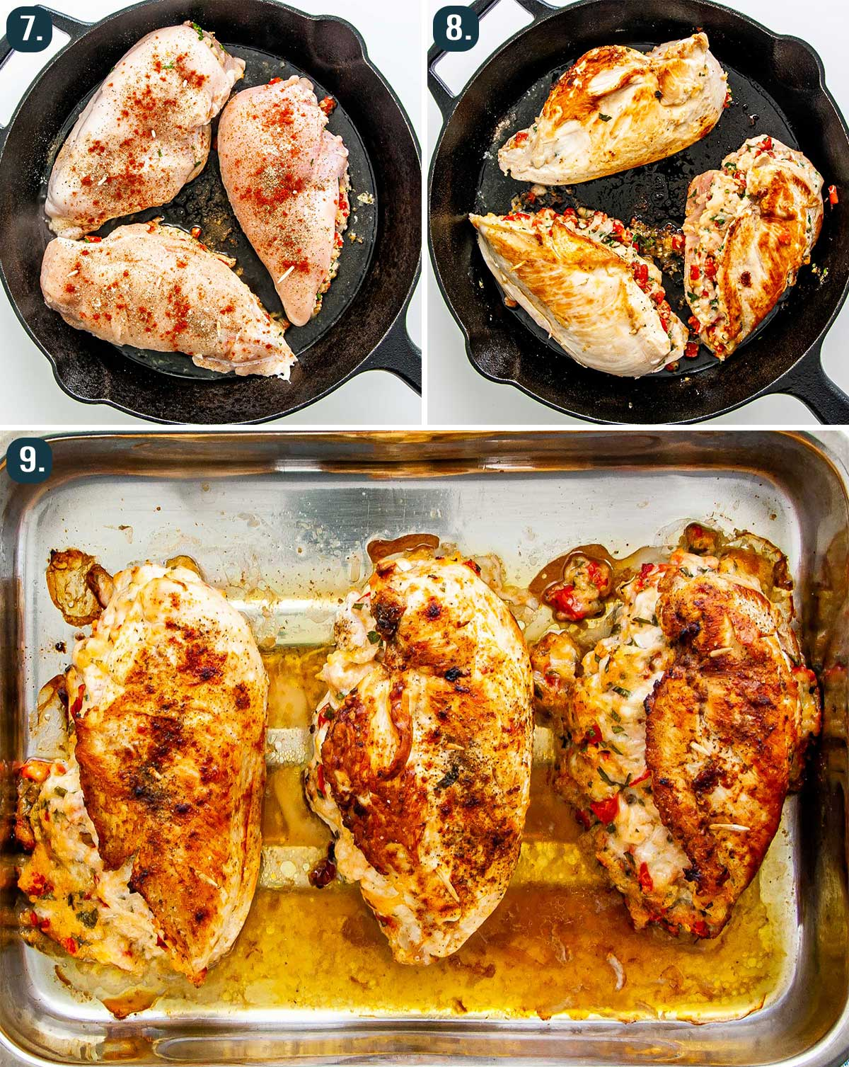 detailed process shots showing how to cook stuffed chicken breasts