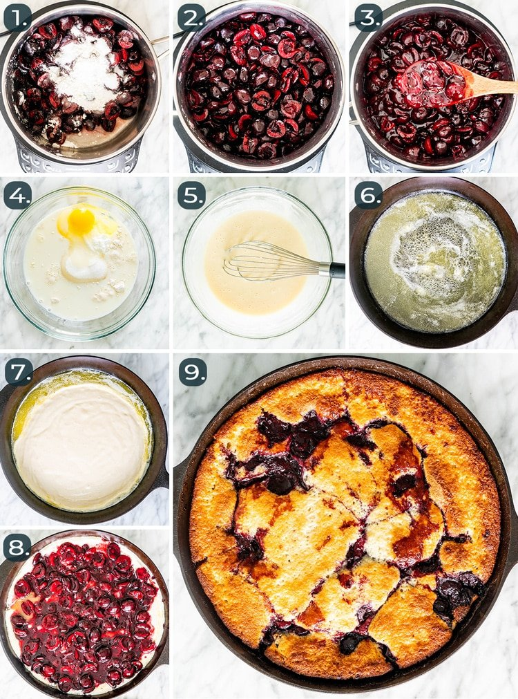 process shots showing how to make cherry cobbler