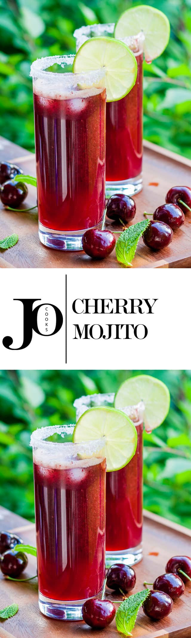 The Cherry Mojito - a favorite summer cocktail! It's slushy and super yummy!
