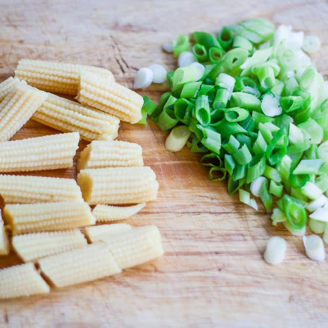 Baby corn and chopped green onion