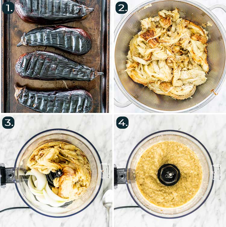 process shots showing how to make eggplant dip