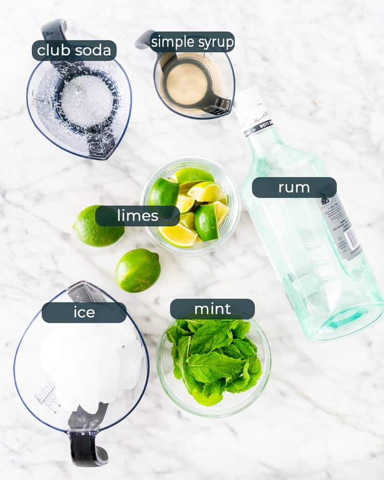 overhead shot of all ingredients needed to make mojitos