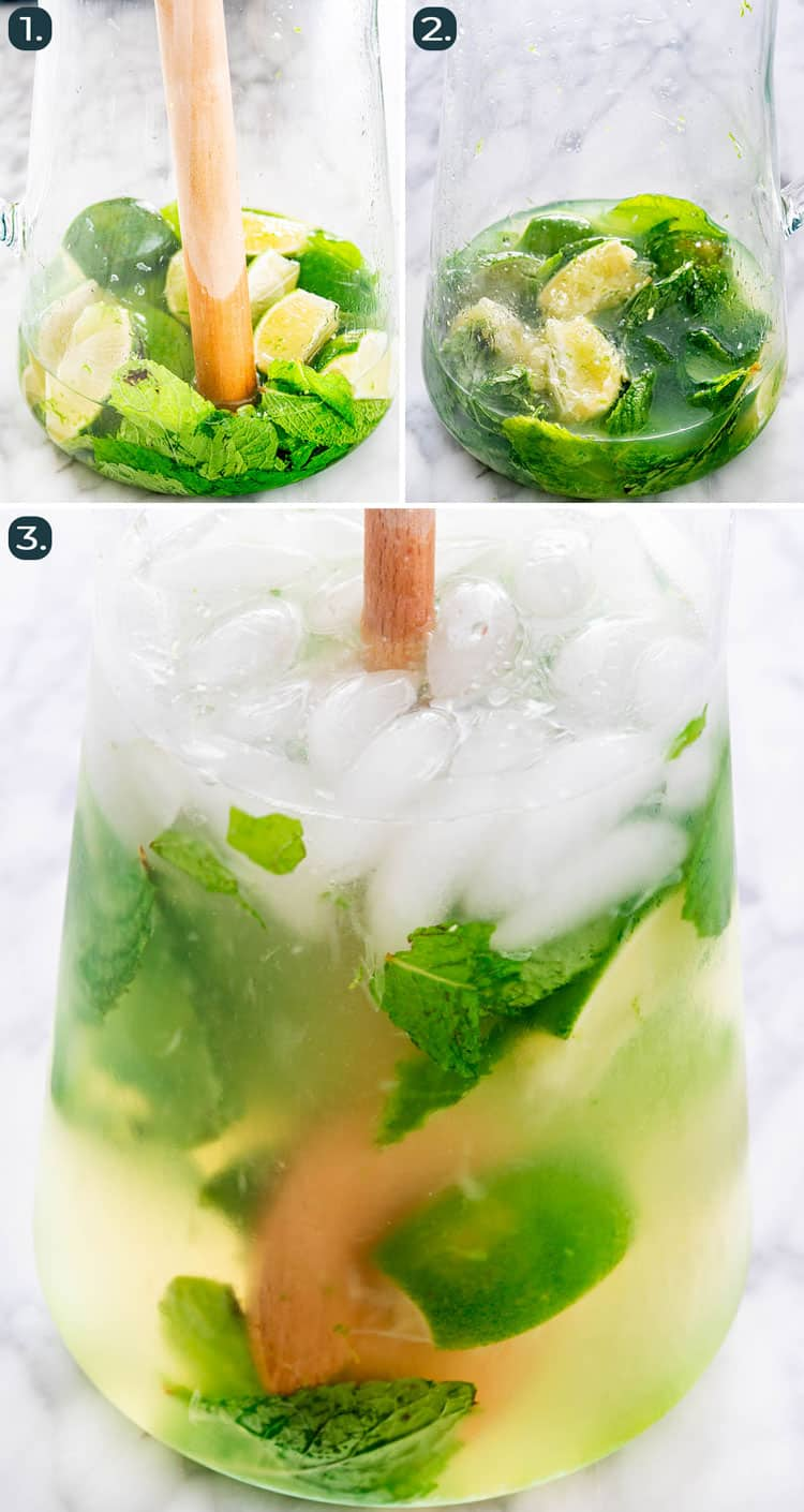 process shots showing how to make mojitos