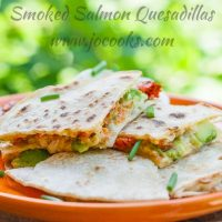 smoked salmon quesadilla on a plate