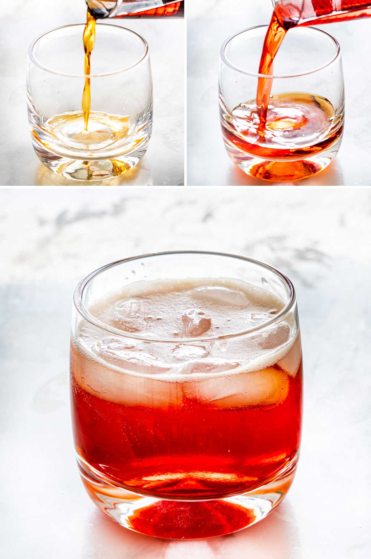 process shots showing how to make an americano cocktail