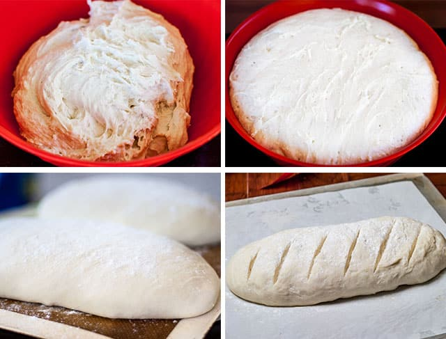 process shots of making artisan bread