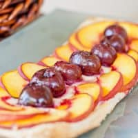 peach and cherry tart