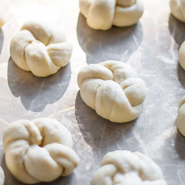 Top shot of assembled Portuguese sweet rolls