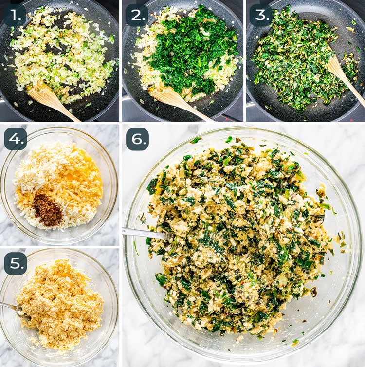process shots showing how to make spinach and feta filling for spanakopita