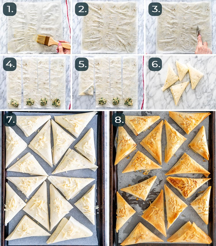 process shots showing how to assemble spankopita
