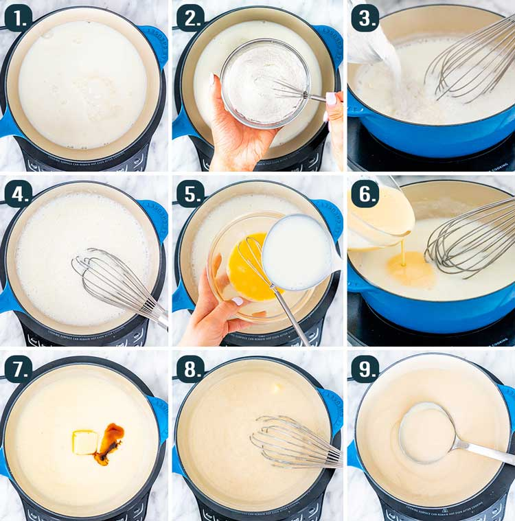process shots showing how to make vanilla pudding
