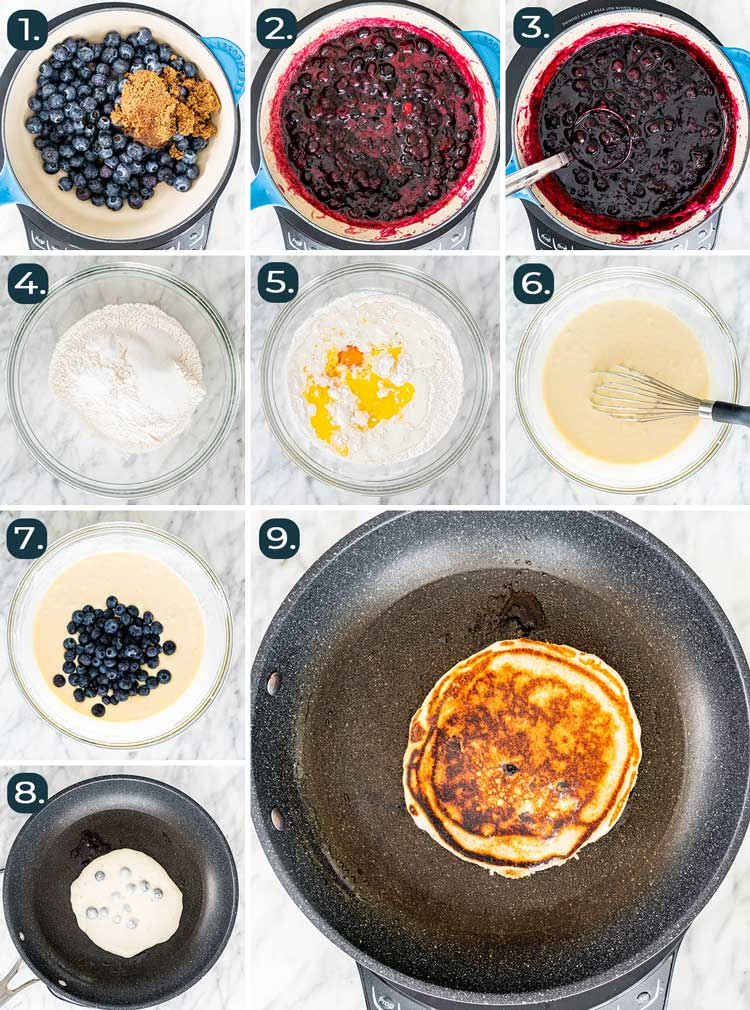 process shots showing how to make Blueberry Buttermilk Pancakes